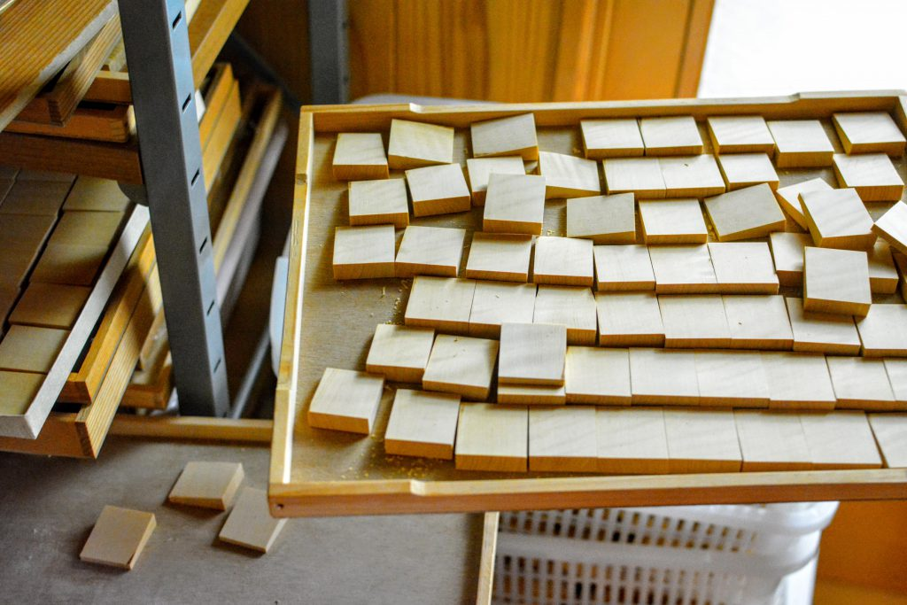 Every wood piece goes through carful process to be a Shogi piece.